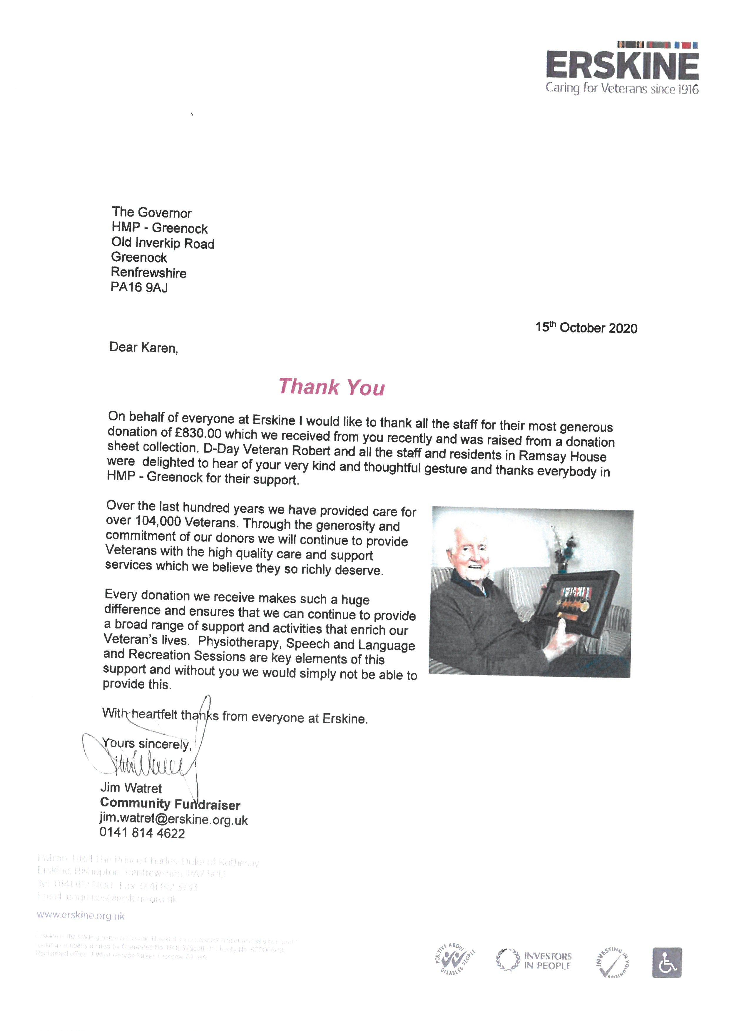Greenock Erskine Letter